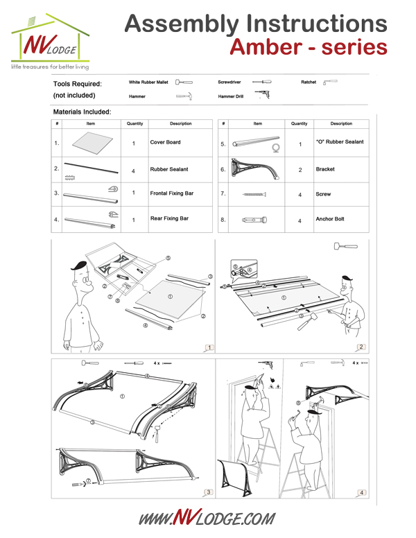 NVLodge | Easy DIY Canopy Awnings | Assembly Instructions | Amber - series