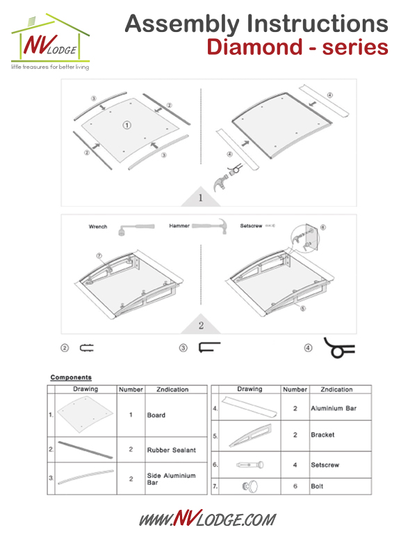 NVLodge | Easy DIY Canopy Awnings | Diamond - series | Assembly Instructions