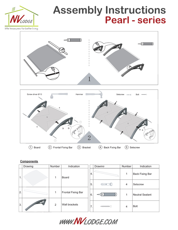 NVLodge | Easy DIY Canopy Awnings | Assembly Instructions | Pearl - series